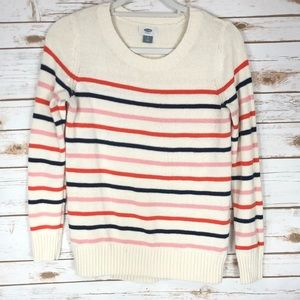 Old Navy Cream with Strips Pullover Sweater